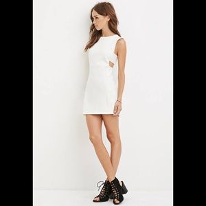 Forever 21 Cream Mini Dress With Side Cutouts